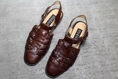 Vtg 90s Brown Leather Woven Cut Out Cage Flats Sandals 8.