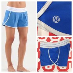 "Lululemon Run in the Sun shorts Blue/light grey. Good preloved condition. Two pleats in front. Zip pockets on sides. Recycled poly/spandex blend. Inner brief. 8"" rise, 4"" inseam. No trades. No PayPal. lululemon athletica Shorts"