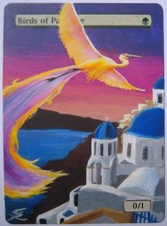 """Birds of Paradise at Santorini"" full altered MTG card by George Salpigkidis. www.indrigames.com/altered-mtg-cards #mtg #magic #magicthegathering #painting #geek"