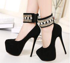 Cheap Para mujer zapatos de tacones altos Rhinestone negro bombas partido  de las mujeres bombea los 638d1c283720