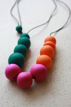 Green Pink and Orange Clay Necklace by PitangaDesigns on Etsy, $45.00