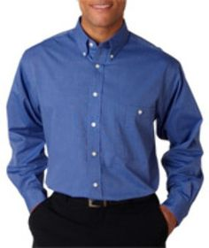 UltraClub® Men's Wrinkle-Free End-on-End Shirt - French Blue (M)