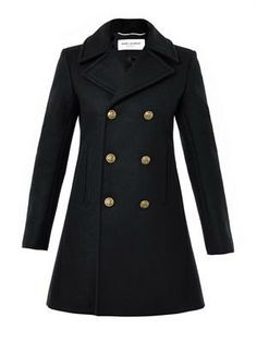 Marine button double-breasted coat