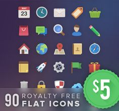 90 Pixel Perfect Royalty Free Flat Icons - only $5! - http://www.mightydeals.com/deal/90-flat-icons.html?ref=rss&refID=7581cb&Pinterest