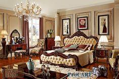 Cheap Estilo ruso rojo sólido muebles de dormitorio de madera conjunto con cama…