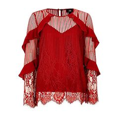 Red lace frill sleeve top (67 CAD) ❤ liked on Polyvore featuring tops, red lace top, lace trim cami, lace camisole, lace top and lace trim top