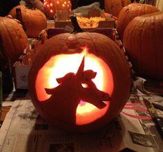 Halloween unicorn jack-o-lantern
