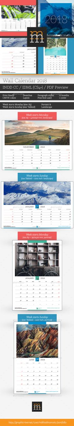 Wall Calendar 2018 Calendar 2018, Walls and Template - Indesign Calendar Template