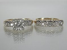 Vintage Wedding Rings Set 0.54 Carats by lonestarestates on Etsy