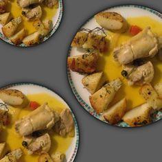 Estilhaços de Frango asiático com batatas chamuscadas na casa do Rui