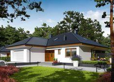 Projekt domu Astrid II G2 (mała) energo 99,44 m² - koszt budowy - EXTRADOM Retirement House Plans, Gazebo, Pergola, Bungalow House Plans, Home Design Plans, Malaga, House Colors, Shed, Villa