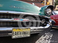 Summer Kick-Off/Cruisin' on the Avenue, Rutherford, New Jersey, USA: Summer Kick-Off/Cruisin' on the Avenue is an annual classic car show and dining under the stars event that takes place on Park Avenue in Rutherford, New Jersey, USA. Here, the front grill of a vintage Chevy with an Earth Angel vanity license plate. This photo was taken on June 28, 2017.