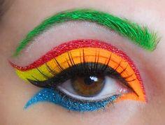 coolurful eye. Black, neon orange, glittery yellow, glittery red, neon green {eyebrow},   Bottom: Black, glittery blue & neon orange