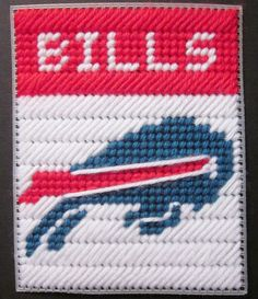 Buffalo Bills tissue box cover plastic canvas by AuntCCcreations Plastic Canvas Coasters, Plastic Canvas Ornaments, Plastic Canvas Tissue Boxes, Plastic Canvas Christmas, Plastic Canvas Crafts, Plastic Canvas Patterns, Canvas Door Hanger, Safety Pin Crafts, Yarn Storage