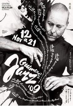 poster jazz brush lettering b/w black white design