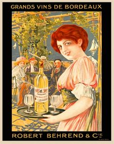 French wine and spirits poster features a red headed woman smiling as she carries a tray with a bottle and glasses to a group at an outdoor table. The Vintage Poster Reproduction from our catalogue of classic posters. Vintage Advertising Posters, Vintage Advertisements, Vintage Posters, Ski Posters, Travel Posters, Vintage Wine, Vintage Ads, Cadre Diy, Objet Deco Design