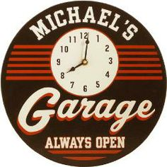 Personalized Wooden Retro Garage Clock Know a guy who tends to lose track of time whenever he's hanging out in the garage? With our Personalized Wooden Retro Garage Clock, he'll never be able to Man Cave Diy, Man Cave Gifts, Man Cave Home Bar, Personalized Clocks, Personalised Gifts For Him, Home Bar Accessories, Decorative Accessories, Mechanic Gifts, Auto Mechanic