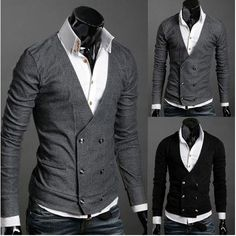 Menswear I ❤: mens slim casual stylish knitwear mens cotton v-neck cardigan double breasted outwear black /grey