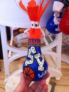 Valley sports DIY lightbulb ornament #basketball #handmade