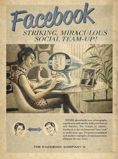【画像】もしも大昔にツイッターやフェイスブック、スカイプ、ユーチューブがあったらというポスター4枚