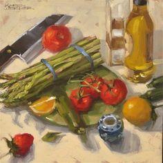 "Daily Paintworks - ""Still Life With Asparagus"" - Original Fine Art for Sale - © Karen Werner"