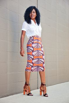 Safari Style Shirt + Printed Pencil Skirt