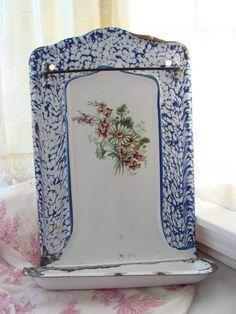 Antique French Drip Tray Enamelware Utsensil Rack by QuelJoliReve, $135.00