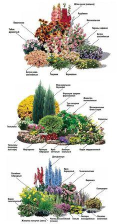 СОЗДАЙТЕ ЦВЕТНИК НЕПРЕРЫВНОГО ЦВЕТЕНИЯ Flower Garden Plans, Flower Garden Design, Garden Yard Ideas, Small Garden Design, Garden Projects, Cottage Garden Design, Garden Design Plans, Backyard Garden Design, Rock Garden Design