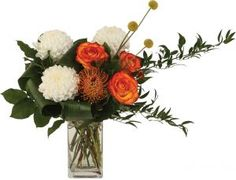 Inspired modern chic design that includes protea, craspedia, roses and large chrysanthemums. Mothers Day Flowers, Floral Arrangements, Roses, Chrysanthemums, Pincushions, Modern, Plants, Inspiration, Chic
