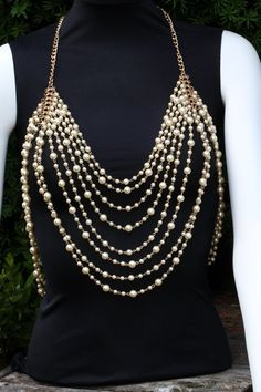 Body Chain Necklace Draping Pearl Beads (Faux) Metal Chains Ivory Multi Layered - pinned by pin4etsy.com