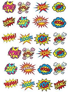 24 Stand Up Premium Edible Wafer Paper Superhero Retro Pow Zap Comic Book Style Cake Toppers Decorations: Amazon.co.uk: Kitchen & Home