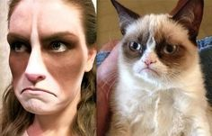 """""""Woman Puts on Makeup to Look Like Grumpy Cat """"This years halloween costume? i think so."""