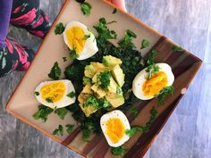 A wintry comfort dish with carrot greens, onions, avocado and soft-boiled eggs, all bought at the Newport Beach Farmers' Market. Carrot Greens, Soft Boiled Eggs, Tasty Bites, Greens Recipe, Farmers Market, Carrots, Avocado, Keto, Lunch