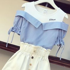 Small Fresh Striped T-shirt +Fashion Shorts Set – Orchidmet Fashion Shorts, Patterns In Nature, Shirt Style, Classic Style, Bell Sleeve Top, Short Sleeves, Product Description, Fresh, T Shirt
