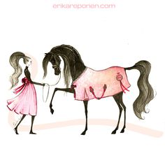 Fashion illustration by Erika Reponen - Model with horse
