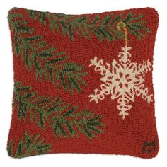 18 Inch Ornament Flake Hooked Pillow, Arts and Crafts Pillows, Accessories