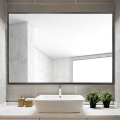 Large Bathroom Mirrors, Rectangular Bathroom Mirror, Contemporary Bathroom Mirrors, Large Bathrooms, Single Bathroom Vanity, Bathroom Sets, Bathroom Wall, Master Bathroom, Basement Bathroom