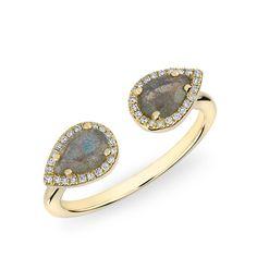 14KT Yellow Gold Labradorite Diamond Throne Ring