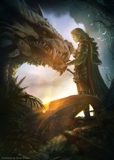 Elf warrior and the dragon by Straban on DeviantArt Elfenkrieger und der Drache von Straban auf DeviantArt This image has. Fantasy Warrior, Elf Warrior, Dragon Warrior, Mythical Creatures Art, Magical Creatures, Fantasy Creatures, Fantasy Artwork, Dragon Artwork, Dragon Drawings