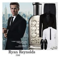 """Ryan Reynolds"" by talvadh ❤ liked on Polyvore featuring BOSS Hugo Boss, Ted Baker, Rick Owens, Scotch & Soda, Yves Saint Laurent, Hickey Freeman, Giorgio Armani, men's fashion and menswear"