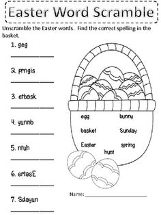 Easter Word Search: Bunny-shaped word search with Easter ...
