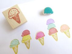Ice cream rubber stamp, Summer decor, Yummy ice cream, Double combo, Sweets stamp, Japanese stationery, Kawaii Japan, Cute decor