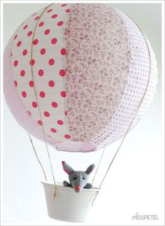 hot air balloon from a lantern- using rainbow ones of course. Maybe a bunny instead of a mouse Diy Arts And Crafts, Crafts To Do, Crafts For Kids, Air Balloon, Balloons, Fabric Crafts, Paper Crafts, Deco Kids, Sewing Projects