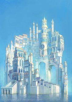 White Tower Fantasy Myth Mythical Mystical Legend Elf Elves Sword Sorcery Magic Witch Wizard Sorceress Fantasy landscape Landscape illustration Fantasy castle