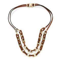 Newbridge eShe Gold Tone Link Chain and Leather