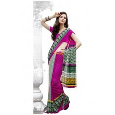 MULTI COLOR PRINTED GEORGETTE SAREE WITH JEQUARD BLOUSE  Shop Now - http://www.valehri.com/multi-color-printed-georgette-saree-with-jequard-blouse