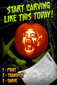 Start Carving Like This Today! *THE* best pattern site on the web.. 100's of patterns.. yes, you have to pay, but 5 bucks gets 25 patterns of your choice. 10 bucks gets you up to 302+ patterns. you pay 5 bucks for the little booklet on sale in the stores from Pumpkin Master, also good, but no where near as many patterns as this! we LOVE this site and use it each year (no, not affiliated with it.. just bragging on something we love using!)