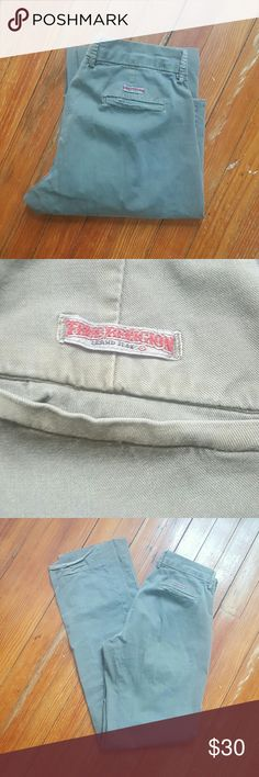 TRUE RELIGION CLASSIS KHAKIS SIZE 27 TRUE RELIGION BLUE JEANS  WOMENS PANTS SIZE 27 OLIVE GREEN PREOWNED SOME WEAR COOL LOOK True Religion Pants