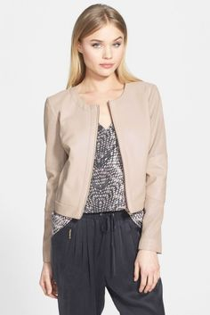 $148, Beige Leather Jacket: Trouve Perforated Sleeve Faux Leather Jacket. Sold by Nordstrom Rack. Click for more info: https://lookastic.com/women/shop_items/84754/redirect