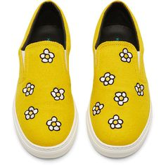 Daisy appliqué slip-on shoe ($565) ❤ liked on Polyvore featuring shoes, sneakers, flats, zapatos, golden sneakers, slip on shoes, pull on sneakers, elastic shoes and slip on sneakers
